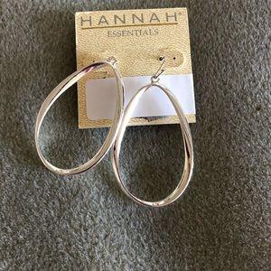 Pretty Hannah Silver rectangular hoop earrings